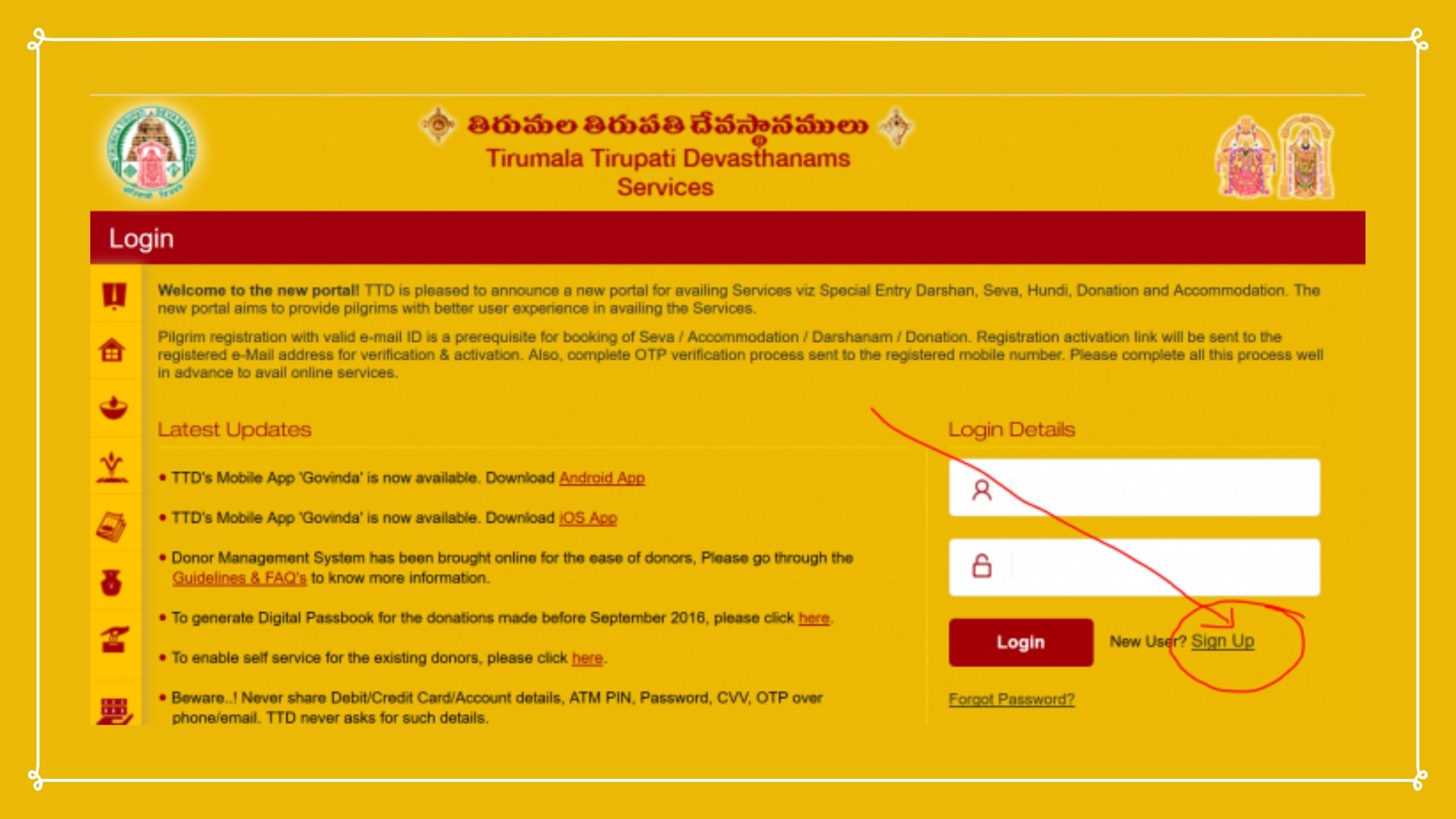 Ttdsevaonline Account Steps to Create